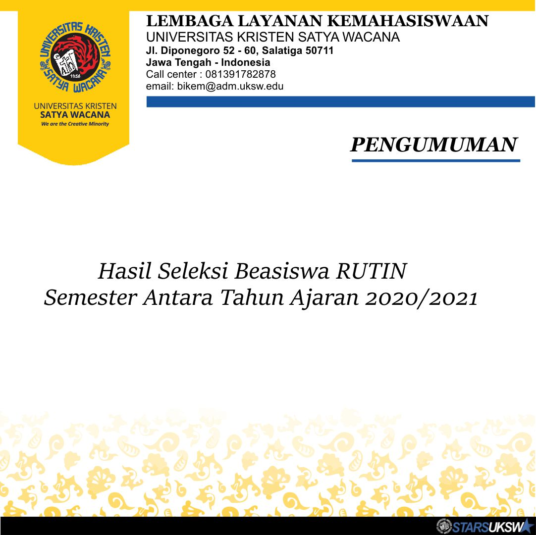 BEASISWA RUTIN PERPANJANGAN SEM III 2020/2021