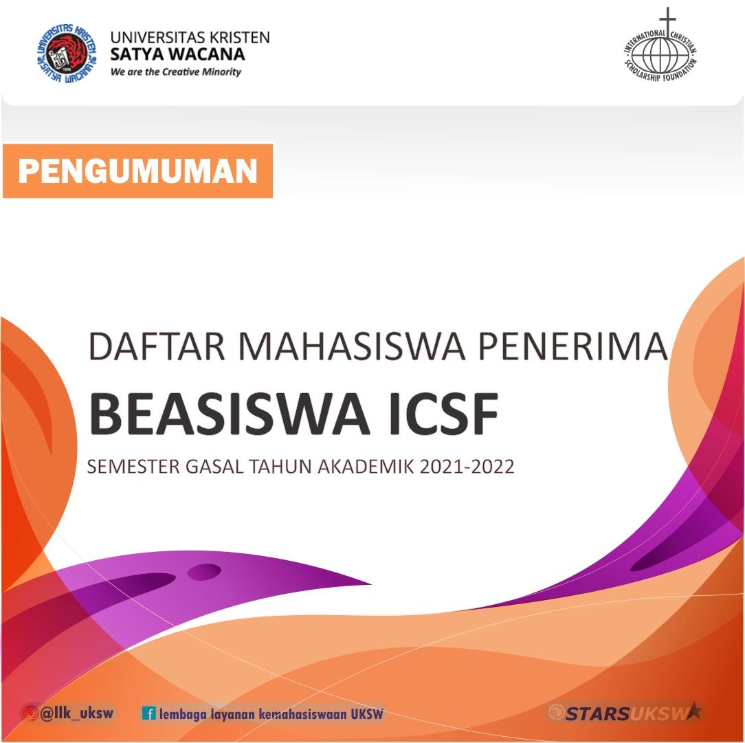 PENGUMUMAN PENERIMA BEASISWA ICSF 2021-2022