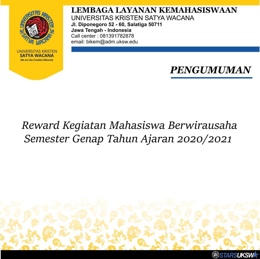 PENGUMUMAN REWARD KEGIATAN MAHASISWA BERWIRAUSAHA 2020
